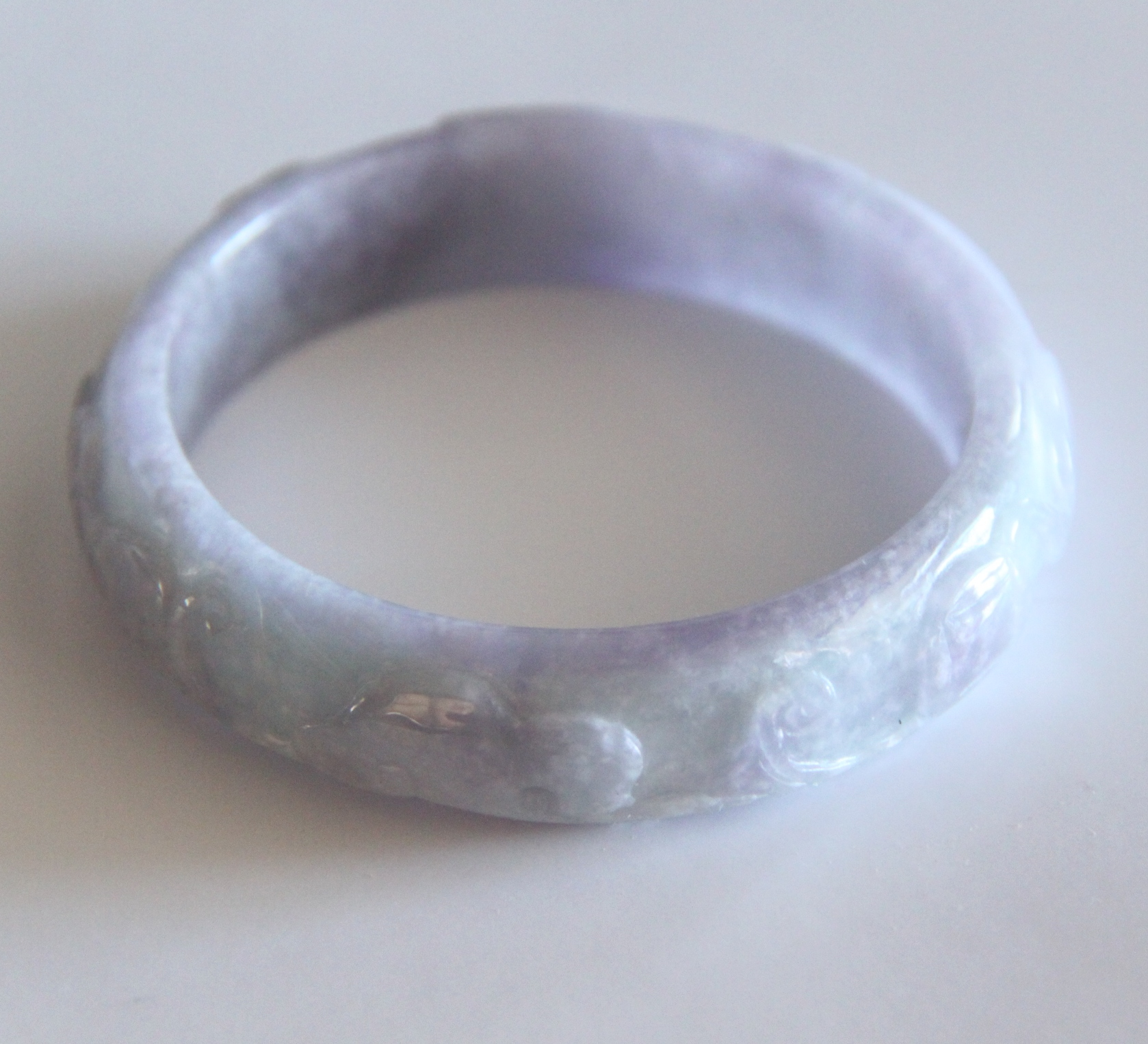 Carved Light Lavender Jade Bangle L355 Sold