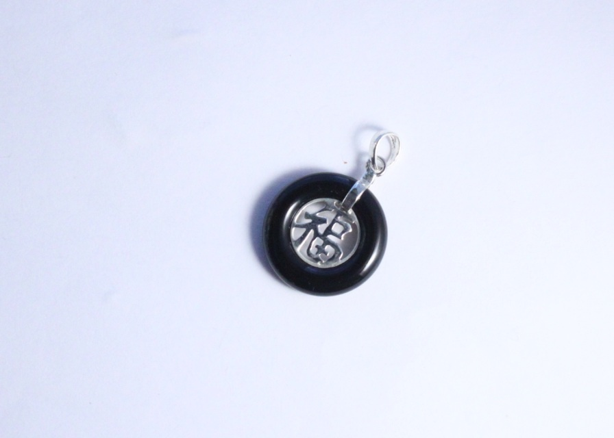 sterling silver chinese symbol jade black onyx disc