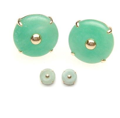 14k Gold Clic Chinese Style Jade Bi Pi Disc Stud Earrings Er104 Sold Out