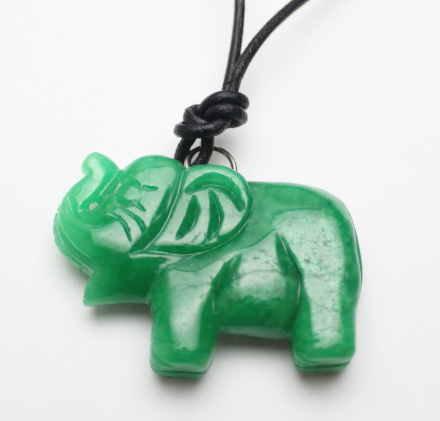 Carved green jade elephant leather necklace s089 aloadofball Gallery